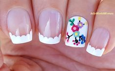 Wavy #White #Frenchmanicure With #Floral #Design