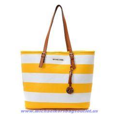 Michael Kors Large Stripe Should Bag Yellow Fast Shipping