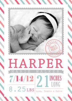 BABY Announcement BIRTH Announcement - Baby GIRL - Birth Card. $14.00, via Etsy.