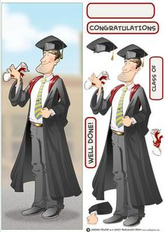 Graduation Dude Large DL on Craftsuprint designed by Gordon Fraser - Congratulations all round for this graduate as he's passed his final exams! Easy to make large dl version with decoupage, blank and sentiment tiles. More versions of this Dude are available. Don't forget to check out my other original designs and Dudes, just click on my name. Thanks for looking! - Now available for download!