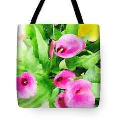 Calla Lilies Tote Bag by Anna Porter. The tote bag is machine washable, available in three different sizes, and includes a black strap for easy carrying on your shoulder. All totes are available for worldwide shipping and include a money-back guarantee. Floral Tote Bags, Thing 1, Calla Lilies, Bag Sale, Fine Art America, Totes, Floral Design, Anna, Lily