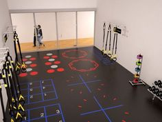 Club Flooring, walls, ceiling and all the space in-between are now being utilized for actual training! per person . no wasted space. What do you think of racquetball court conversions for health clubs? Kine Sport, Gym Interior, Home Gym Design, Gym Decor, Gym Room, Clinic Design, Club Design, Logo Design, Fitness Design