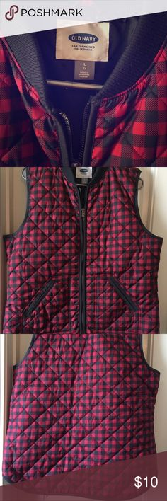 Super cute!  Buffalo Check Vest Old Navy red and black buffalo plaid zip vest.  New condition.  Ordered online and never worn.  Too cute to hang in the closet.  :). Size large. Old Navy Jackets & Coats Vests