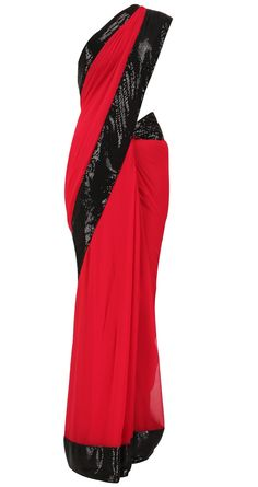Red Saree with Black trim