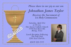1st Holy Communion Chalice Invitations w/ Photo ALL COLORS - Digital Download - Get these invitations RIGHT NOW. Design yourself online, download and print IMMEDIATELY! Or choose my printing services. No software download is required. Free to try! Holy Communion Invitations, Christening Invitations, Diy Invitations, Printing Services, Baby Names, All The Colors, Rsvp, Catholic, Color Schemes