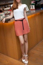 Pleated Wholecolored Mini Skirt with Belt - Skirts