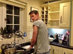 Sooo Matt Smith's mum tweeted a picture of him... doing the dishes... I'll just leave this here.