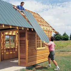 Order Cut-to-Length Steel Roof Panels - DIY Storage Shed Building Tips: http://www.familyhandyman.com/sheds/diy-storage-shed-building-tips#14