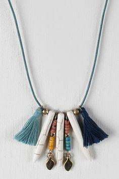 Bone Spike Shape Pendants Tassel Necklace
