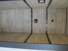 Shower tile design - using large and small tiles that are the same color Laundry Room Bathroom, Bathroom Renos, Small Bathroom, Bathroom Ideas, Bath Ideas, Shower Ideas, Shower Tile Patterns, Shower Tile Designs, Master Shower