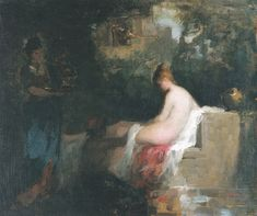 After the bath - Nicolae Grigorescu, romanian impressionist painter Moonlight Painting, Window Art, Cover Photos, Picture Frames, Fine Art, Drawings, Image, Beauty Inside, Painters