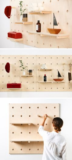 modular furniture 9 Ideas For Using Pegboard And Dowels To Create Open Shelving // The Bang Bang Pegboard is a modular shelving system you can have shipped right to your door! Handmade Home Decor, Handmade Furniture, Diy Furniture, Modular Furniture, Modular Walls, Furniture Movers, Furniture Assembly, Wall Storage, Craft Storage