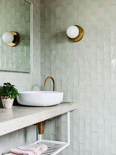 In This Coastal Australian Home, the Terracotta Tile Floors Aren't Tile at All Old Bathrooms, Small Bathroom, Green Bathroom Tiles, Bathroom Colors, Mirrored Tile Bathroom, Green Bathrooms, Green Tiles, Downstairs Bathroom, Bathroom Inspo