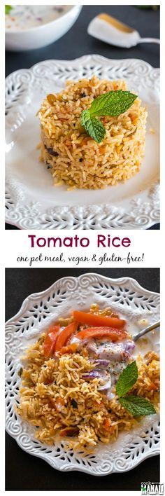 One-pot spicy Tomato Rice. This rice is best enjoyed with raita (yogurt dip) or…