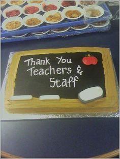 Teacher Appreciation cake - sheet cake with buttercream chalk and eraser are fondant