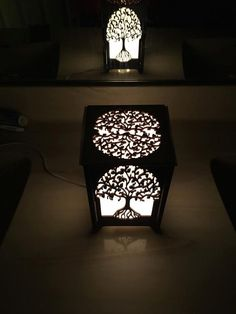 Laser cut wood light box candle holder table by LessEgoMoreLove