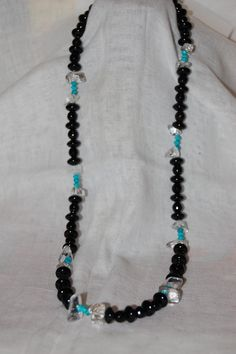Black Onyx, Turquoise and clear quartz