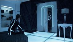 Bright casting light,  in  dark accents  futuristic bedroom design in Tron Legacy movie