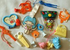 90's sanrio....the little toys you'd get taped to your bag were so exciting!!!