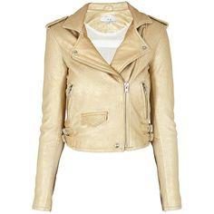 IRO Dune Jacket ($1,175) ❤ liked on Polyvore featuring outerwear, jackets, coats, coats & jackets, leather jacket, gold, biker style jacket, beige cropped jacket, beige jacket and cropped jacket