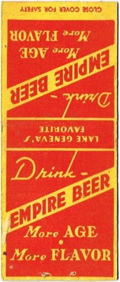 Matchcovers Empire Beer Bechauds Inc. Fond Du Lac Wisconsin United States of America