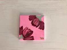 Mini Pink Flowers No. Fine art mini painting of flowers. Acrylic art on canvas. 1 of Simple Canvas Paintings, Flower Painting Canvas, Small Canvas Art, Pink Painting, Mini Canvas Art, Flower Canvas, Small Paintings, Flower Art, Pin On