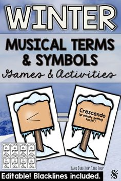 "Looking for fun new music education games for the winter season? These winter music activities are a blast! Our students have been practicing music symbols and terms with this fun find a partner game. Students scatter around the room looking for a partner with a card that ""matches"" their card. Students stay engaged because they are moving around the room.  Musical terms"
