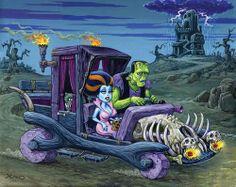 Sunday drive - Frankenstein & his Bride Saudades de ver uns bons desenhos. Arte Horror, Horror Art, Horror Pics, Halloween Horror, Halloween Art, Halloween Recipe, Halloween Cupcakes, Comic Cat, Rockabilly Art