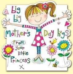Big hugs from your little princess, Mothers Day Card by Rachel Ellen Designs.  http://www.dizzyduckscardsandgifts.com/Mothers-Day-Seasonal-Cards/b/1606390031