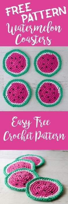 Cutest. Free. Watermelon Coaster pattern. Ever!