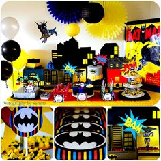 Top That!: Retro 'Batman Inspired' Dessert Table {Top That! Paperie} ... I love this whole setup... the batman and robin covered blocks, the citycape backdrop, the brightly colored hanging things at the top.. sweet!