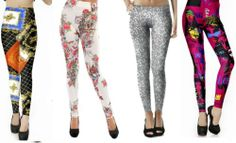 Womens Vintage Retro Ladies Multicolored Printed Stretchy Tights Leggings Pants £4.77
