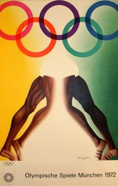 Munich Olympics 1972 - original vintage poster by Allen Jones listed on AntikBar.co.uk