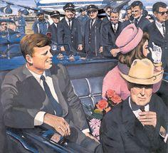 Kennedy Motorcade -- Audrey Flack JUSTE AVANT !