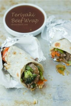 TERIYAKI BEEF WRAP~  prep time: 5 minutes cook time: 8 minutes yield: 6 servings serving size: 1 wrap  it's not just mexican food for tortillas. this teriyaki beef wrap is easy and delicious!  **ingredients**  for the wrap 1 (2lb) flank steak, sliced very thin 2 cups of cooked rice 4 cups stir fry veggies (we buy fresh broccoli, snow peas, carrots etc but you could use frozen) fresh tortillas, cooked sesame seeds optional teriyaki sauce 3/4 cup low sodium soy sauce 1/2 cup water 1/3 cup…