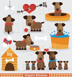 Sweet Dog Clipart Set - Personal and Commercial Use - Dog Clip Art - Dog Scrapbooking - Puppy Clipart - Puppy scrapbooking - Paper Crafts Mais Dog Scrapbook, Scrapbook Paper Crafts, Puppy Clipart, Dog Clip Art, Dog Quilts, Art Folder, Dog Cards, Dog Illustration, Dog Pattern