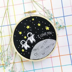 alentines Day orders in the making! I reeeeally love the astronauts on this piece 😍. Still not too late to get one for yourself in time Hand Embroidery Videos, Simple Embroidery, Hand Embroidery Stitches, Embroidery Hoop Art, Hand Embroidery Designs, Cross Stitch Embroidery, Broderie Simple, Hand Art, Quilt Stitching
