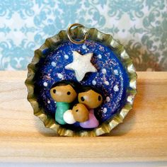 Tiny Nativity Bottle Cap Charm - Choose: Necklace, Mini Ornament, OR Pin
