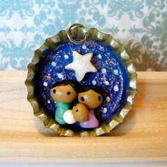 Tiny Nativity Bottle Cap Charm - Choose: Necklace, Mini Ornament, OR Pin