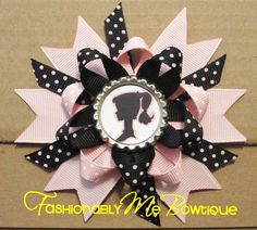 Vintage Inspired Barbie Silhouette Boutique Stacked Bottlecap Bow.