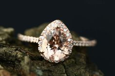 Etsy Gigi Morganite Ring 8x6mm/1.15 Carats Pear Cut Morganite 14K Rose Gold Diamond Halo Engagement Ring