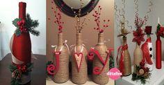Decoración+navideña+con+botellas+de+vidrio