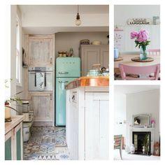 casa familiar con aires vintage y escandinavos. Baldosas hidraúlicas cocina : via MIBLOG
