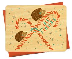 Pepermunt Hedgie Real hout Holiday Card - echt hout kerstkaart - vrolijke vakantie - egel - WC498