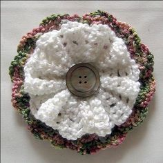 Large Crochet Button Flower ~ free pattern