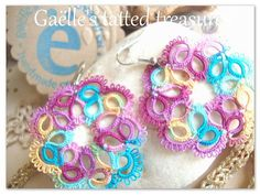 Summer coloursHand tatted earrings 'Spring by gaestattedtreasures