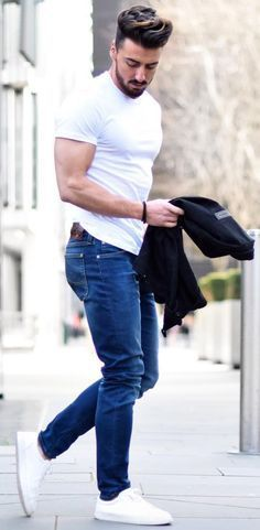 HOT Minimalist Street Style! Plain White Tee, Fresh Blue Jeans and Spotless White Kickers. The deep blue jacket is more an accessory. Follow rickysturn/mens-casual