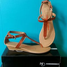 """NIB New Directions Thong """"Ocean"""" Wedge Sandals Think summer with these sandals and warm breeze from the ocean to give you warm thoughts ;) All man made materials with an inch wedge to give you some height but still comfy, adjustable buckle and cute details on straps and sole. Also available in 8.5 and 7.5 new directions Shoes Sandals"""