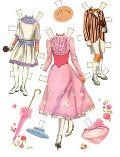 Mary Poppins - outfits* 1500 free paper dolls at Arielle Gabriel's The Internatioal Paper Doll Society and Arielle Gabriel's art, prints, paintings as well...
