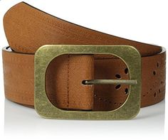 Madden Girl Women's Reversible Perforated Pant Belt, Cognac/Black, Large. Go to the website to read more description.